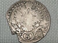 Austria Empire Hapsburg Franz II 5 Silver 1821 Kreuzer Crowned Double Head Eagle