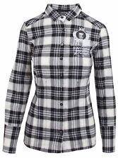 L' ARGENTINA Damen Bluse Shirt Langarm Größe 38 M 100% Baumwolle Schwarz Kariert