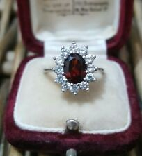 STERLING SILVER CLUSTER RING, GARNET & CUBIC ZIRCONIA, SIZE M, SOLID SILVER