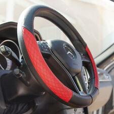 Genuine Leather Steering Wheel Cover It58011 Black Red 14.75 Diameter Jaguar Kia
