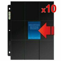 10 x Ultra Pro Side Load 9 18 Pocket Black Card Sleeves Pages Double Sided
