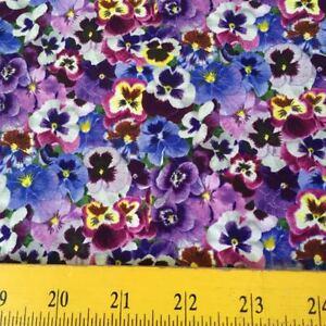 "Eliz Studios Lovely Pansies Fabric Lavender Purple for Quilts Totes 4 Masks 18"""