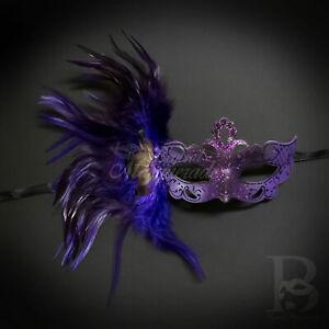 Maleficent Elegant Purple Mardi Gras Women Masquerade Mask with feathers mask