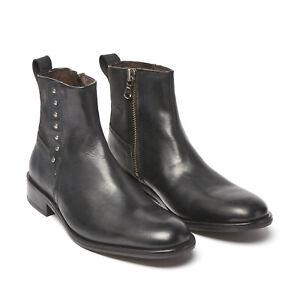 John Varvatos Star USA Men's Star Button Leather Side Zip Boot Black