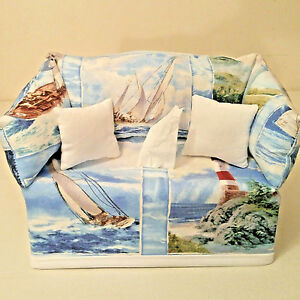 Lighthouse and Sailboat Theme #2 Tissue Box Cover Handmade