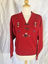 Vtg Meister Womens Red Wool Blend Sweater With Embroidered Flowers Size M