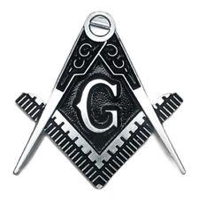 "Masonic cut to shape 2 1/2"" car emblem silver and black color #CMBS"
