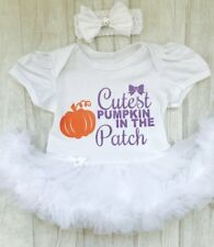BABY GIRLS Cutest PUMPKIN White Tutu Romper HALLOWEEN Costume NEWBORN GIFT Love