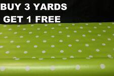 Citron vert blanc polka dot spots nappe en vinyle pvc toile cirée tissu matériau