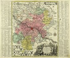 SACHSEN - AMT DRESDEN - Seutter - kolorierte Kupferkarte 1740