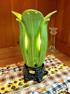 Rare Vintage Royal Haeger Ceramic TV Lamp Petal Louvre Blue-Green Glaze Working!