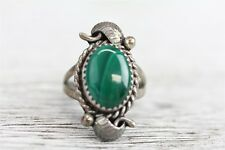 VINTAGE MC NATIVE INDIAN MALACHITE 925 STERLING SILVER RING FEATHER WORK SZ 6