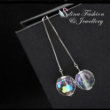 18K White Gold Plated Glass Crystal Stylish DiscoBall Colorful Ear Line Earrings