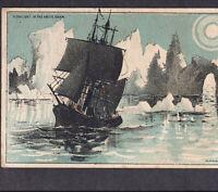 19th Century Arctic Ocean Lith Sailing Ship in Moonlight 1882 Bufford Trade Card