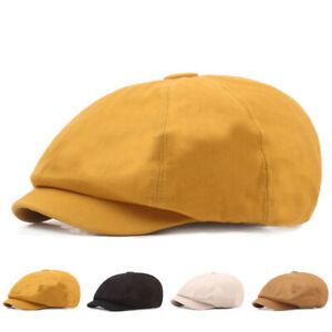Men Solid Classic Cotton Beret Newsboy Hat Golf Driving Cabbie Hats Flat Cap