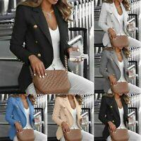 Button Women Slim Coat Blazer Outwear Suit Sleeve Fit Long Jacket OL Work Casual