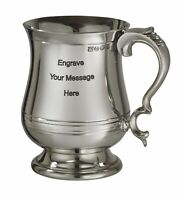 NEW Personalised 1 Pint Extra Heavy Georgian Pewter Tankard Any Message Engraved