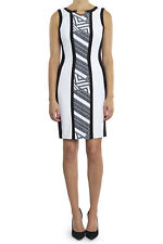 Joseph Ribkoff White/Grey/Black Color-Block Sheath Dress US 8 UK 10 NEW 182536