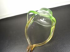 ITALIAN MURANO GREEN WITH AMBER COLOR CRYSTAL GLASS  CANDY BOWL BASKET VASELINE