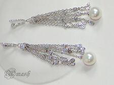 White Gold Plated Wedding Earrings,Pearl Long Drop Dangle chandelier earrings