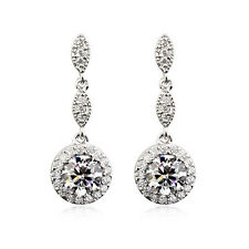 STUNNING 18K WHITE GP GENUINE CLEAR AUSTRIAN CRYSTAL AND CZ  DANGLE EARRINGS