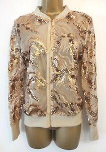 New Nude Sheer Mesh Sequin Embellished Bomber Style Jacket Size 10 PLT