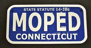 """Connecticut Aluminum Moped License Plate Tag -  METAL 3"""" X 6"""" CT 49cc Scooter"""
