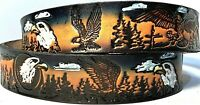 BALD EAGLE MOTORCYCLE TRUCKER EMBOSSED COWHIDE LEATHER BELT SIZE 26-48 USA MADE