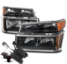 FOR 04-12 CHEVY COLORADO CANYON BLACK 4PC STYLE HEADLIGHTS LAMP W/50W 8000K HID