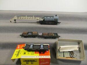 Fleischmann H0 u.a. 1496 B Kranzug Güterwagen der DB 4 Stück teils in OVP Q15