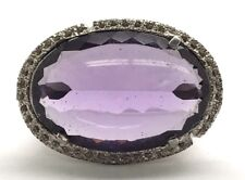 Sterling Silver Oval Translucent Purple Amethyst Wide Chunky Statement Ring 7.5
