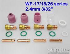 """18 pcs TIG Stubby Gas Lens Ceramic nozzle & Pyrex Cup Kit WP17/18/26 2.4mm 3/32"""""""