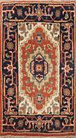 Geometric Orange Indo Heriz Oriental Area Rug Wool Hand-knotted Foyer Carpet 2x3