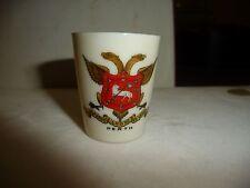 #1227C  vtg souvenir Perth porcelain miniature shot glass pro rege lege et grege