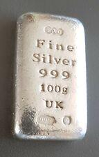 SAO (UK) 100g GRAM 999 FINE SILVER BULLION BAR - (NOT GOLD)