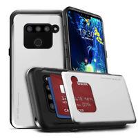 For LG V50 V40 G7 Case Slim Slide card pocket Rugged Armor Case Cover Easy Grip