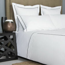 FRETTE ONE BOURDON KING 4 PIECE SHEET SET PERCALE WHITE/GREY MADE IN ITALY