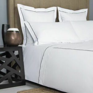FRETTE ONE BOURDON QUEEN 4 PIECE SHEET SET PERCALE WHITE/GREY MADE IN ITALY