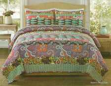 Floral Paisley Feathers Retro Chic Gypsy Quilt & Shams Full Queen 3p Bedding Set