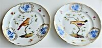 Antique German Porcelain Bird Flowers Plate Set of 2 (Repaired) 19th Century