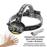 USB Rechargeable T6 COB LED IR Sensor Headlamp Light Headlight 18650 Flashlight