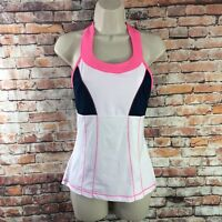 FILA Women Size XS Pink White Fitness Running Athletic Top Stretch Built In Bra