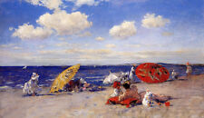 Oil painting William Merritt Chase Young women & children At the seaside canvas