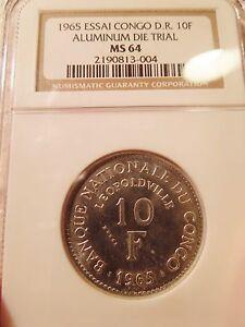 1965 Congo Democratic Republic 10 Francs ESSAI in Aluminum NGC MS64 Scarce!