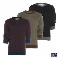 Soulstar Mens Crew Neck Cable Knit Jumper, Taupe/Burgundy/Black. BNWT