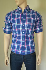 NEW Abercrombie & Fitch Blake Peak Shirt Navy Pink Plaid Check S RRP £82