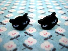 FUNKY BLACK PUSSY CAT FACE EARRINGS CUTE KITSCH RETRO ANIMAL KITTEN HALLOWEEN SP