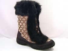 New NIB Coach Jennie Signature Khaki Brown Fur Boots 5.5  RARE!