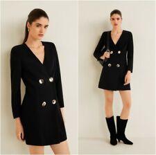 NEW MANGO (Zara Group)  GOLDEN BUTTONS Black Blazer Dress size EUR L, USA M