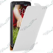 Housse Coque Etui PU Vrai Rabattable Cuir BLANC Pour LG G2 D802/ D803/ VS980
